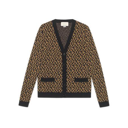 Gucci Cardigan aus GRhombus-Lamé-Wolljacquard braun
