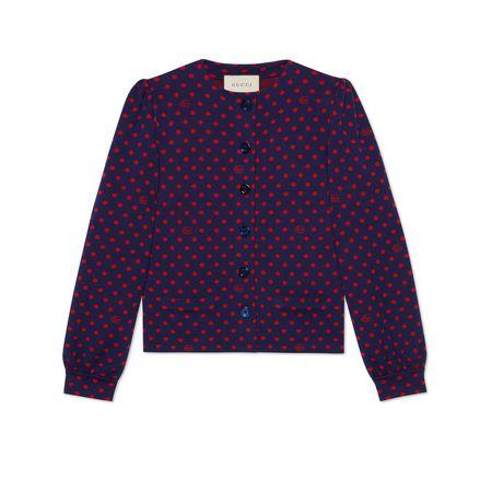 Gucci Cardigan aus Wolle mit gepunktetem Print und DoppelG grau