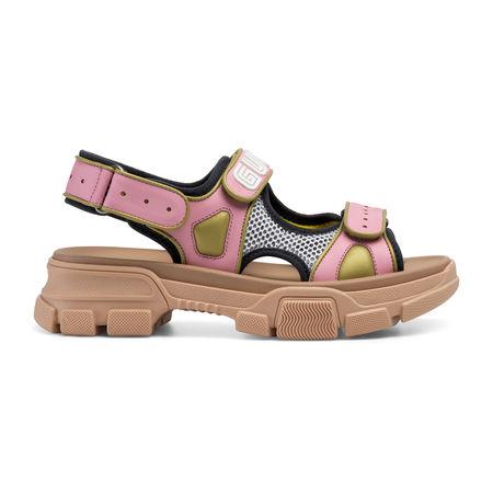 Gucci Damen-Sandale aus Leder und Netzgewebe braun