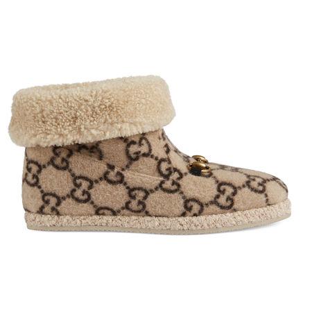 Gucci Damen-Stiefelette aus Wolle mit GGMotiv braun