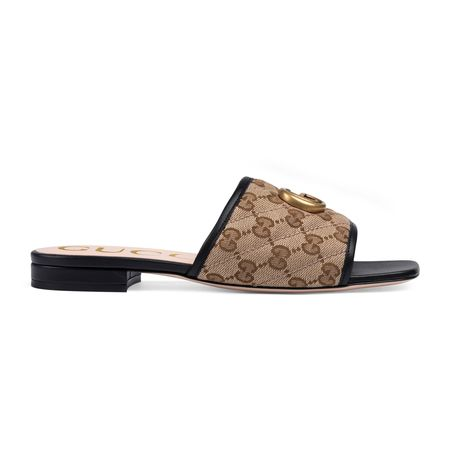 Gucci Damenpantolette aus GGCanvas mit Matelassé-Leder braun