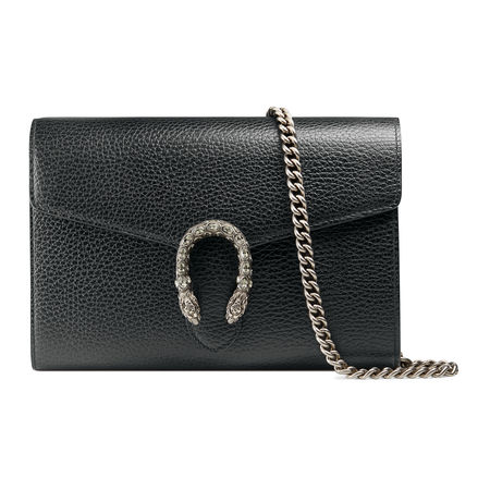 Gucci Dionysus Mini-Tasche aus Leder mit Kette grau