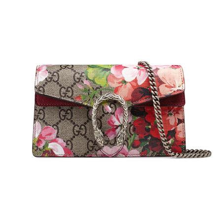 Gucci Dionysus Super-Mini-Tasche aus GG Blooms braun