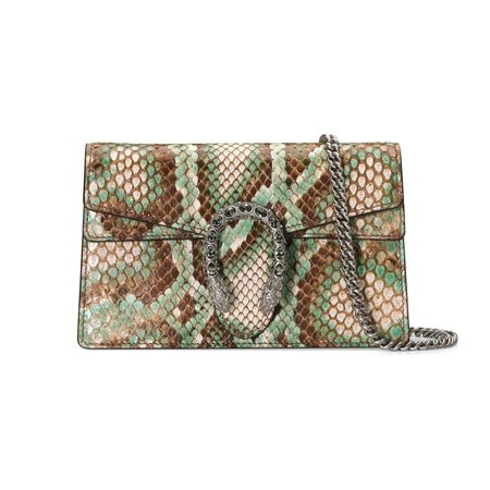 Gucci Dionysus Super-Mini-Tasche aus Pythonleder braun