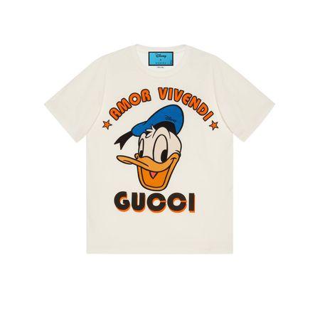 Gucci Disney x  T-Shirt mit Donald Duck-Print beige
