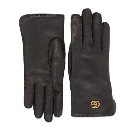 Gucci Doppel G Handschuhe aus Leder grau