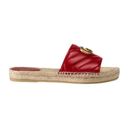 Gucci Espadrille-Sandale aus Leder braun