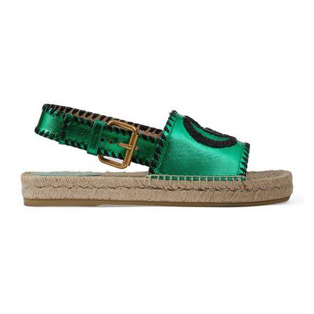 Gucci Espadrille-Sandale aus Metallic-Leder braun