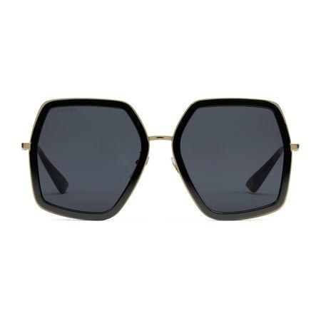 Gucci Extragroße Sonnenbrille mit quadratischem Rahmen aus Metall grau