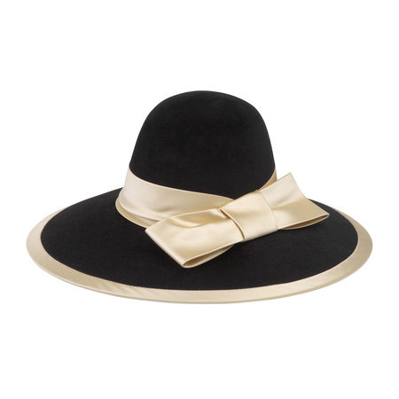 Gucci Filzhut mit breiter Krempe und Satinband schwarz