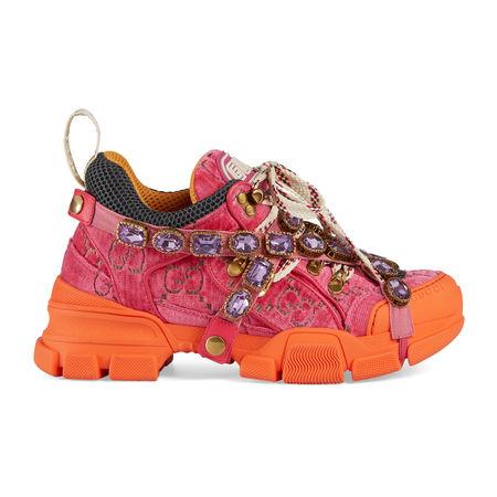 Gucci Flashtrek Damen-Sneaker mit Kristallen orange