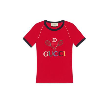 Gucci Geripptes T-Shirt mit  Tennis-Stickerei rot