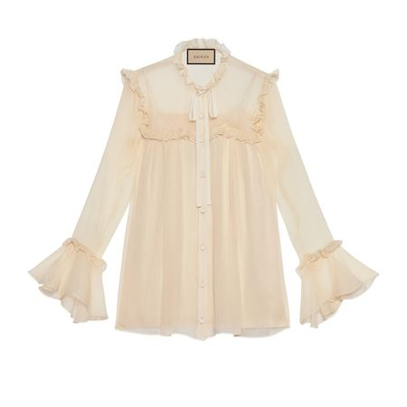 Gucci Gerüschte Hemdbluse aus Seidenchiffon