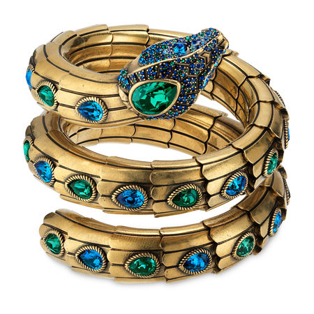 Gucci Gewickeltes Schlangen-Armband mit Kristallen orange