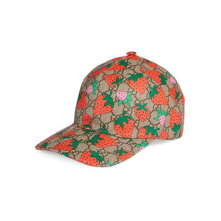 Gucci GG Baseballkappe mit  Strawberry-Print braun
