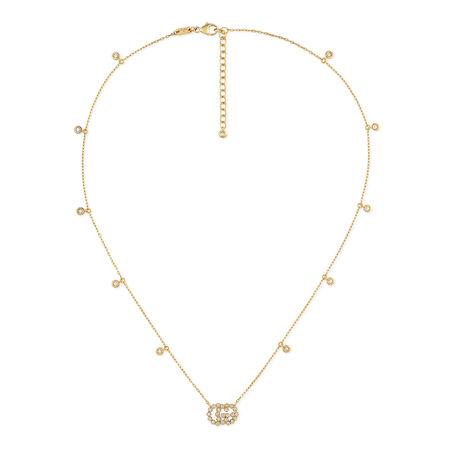 Gucci GGHalskette mit Diamanten beige
