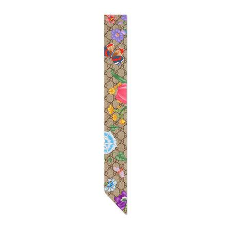 Gucci GG Halsschleife aus Seide mit Flora-Print braun