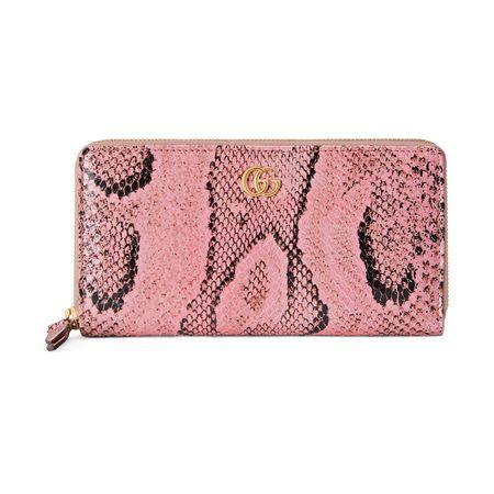 Gucci GGMarmont Brieftasche aus Pythonleder mit Rundum-RV