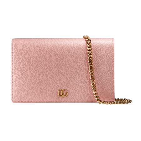 Gucci GG Marmont Mini-Tasche aus Leder mit Kette rot