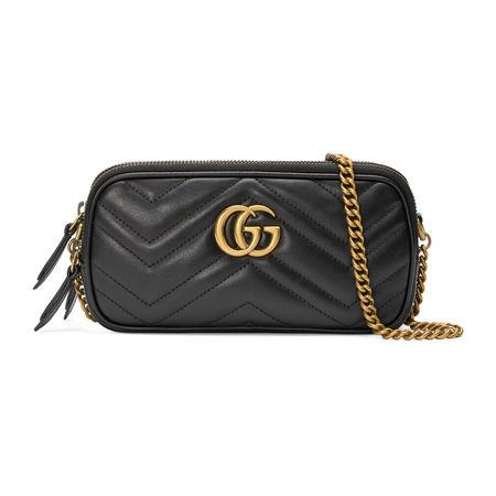 Gucci GG Marmont Mini-Tasche mit Kette grau
