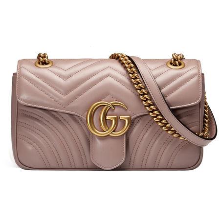 Gucci GG Marmont Schultertasche aus Matelassé-Leder braun
