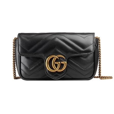 Gucci GG Marmont Super-Mini-Tasche aus Matelassé-Leder schwarz