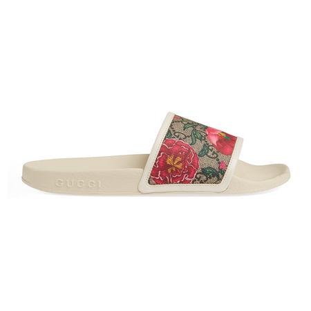 Gucci GGPantolette mit Flora-Print braun