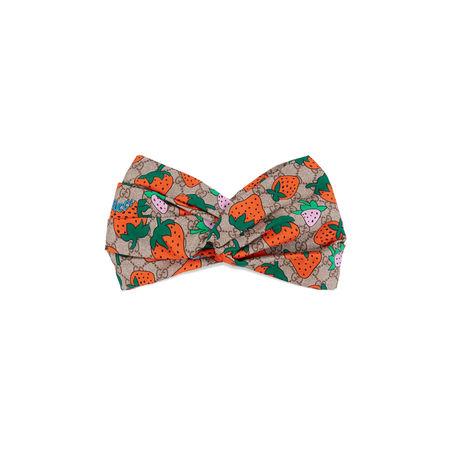 Gucci GGStirnband mit  Strawberry-Print braun