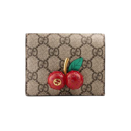 Gucci GG Supreme Kartenetui mit Kirschen braun
