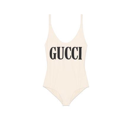 Gucci Glänzender Badeanzug mit Print beige
