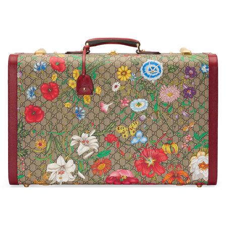 Gucci Großer GGKoffer mit Flora-Print braun