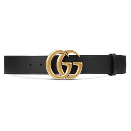Gucci Gürtel aus Leder mit Doppel G Schnalle schwarz