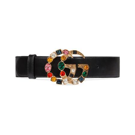 Gucci Gürtel aus Leder mit GG Schnalle mit Kristallbesatz schwarz