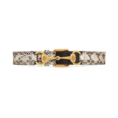 Gucci Gürtel aus Schlangenleder mit Horsebit braun