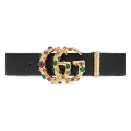 Gucci Gürtel mit DoppelG Schnalle und Kristallen grau
