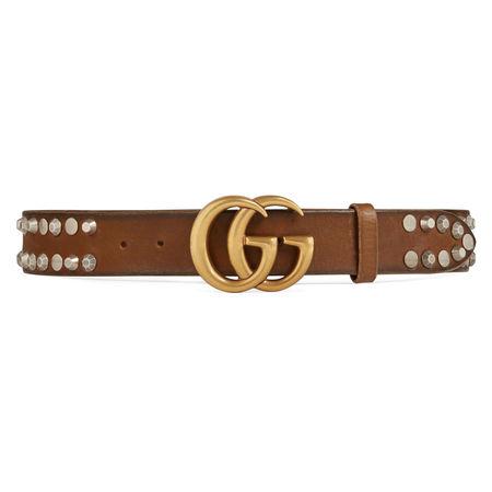 Gucci Gürtel mit Nietenbesatz und GG Schnalle braun