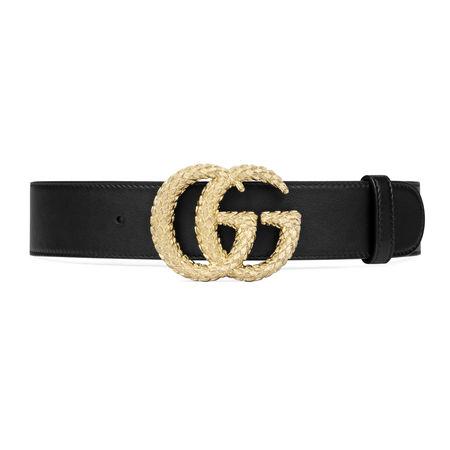 Gucci Gürtel mit strukturierter DoppelG Schnalle schwarz