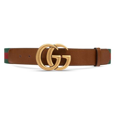 Gucci Gürtel mit Webstreifen und GGSchnalle braun