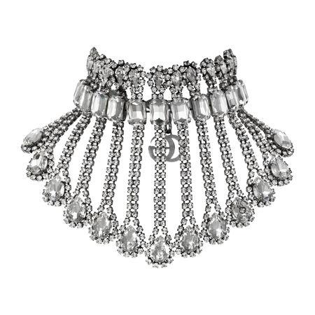 Gucci Halskette aus Metall mit Kristallen grau