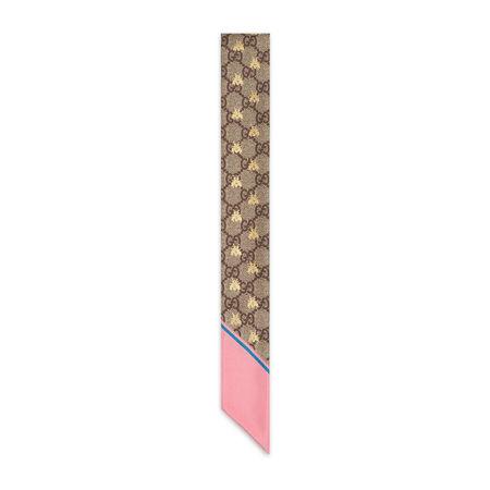 Gucci Halsschleife aus Seide mit GG Bienen-Print braun