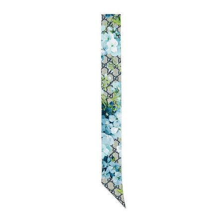 Gucci Halsschleife aus Seide mit GG Blumen-Print grau