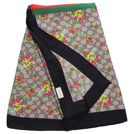 Gucci  Halstuch 3G001 Seide Logo Blumenmuster beige schwarz schwarz