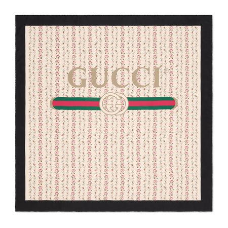 Gucci Halstuch aus Seide mit Logo-Rosen-Print braun