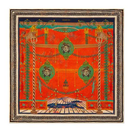 Gucci Halstuch aus Seide mit Rom-Print orange