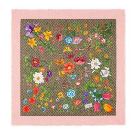 Gucci Halstuch aus Wolle und Seide mit GG Flora-Print rot