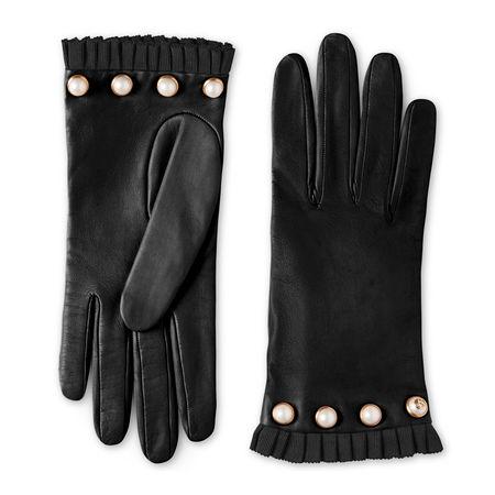 Gucci Handschuh aus Leder mit Nieten schwarz