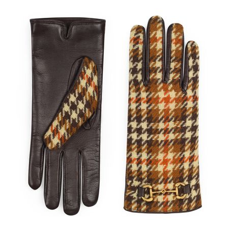 Gucci Handschuhe aus karierter Wolle und Leder grau