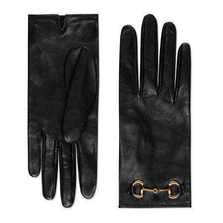 Gucci Handschuhe aus Leder mit Horsebit schwarz
