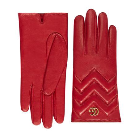Gucci Handschuhe GG Marmont aus Leder mit Chevron rot