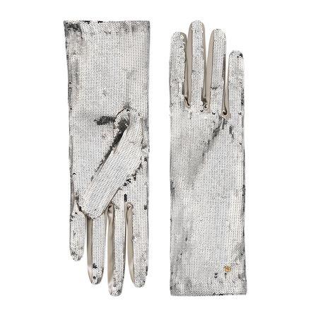 Gucci Handschuhe mit Pailletten-Stickereien braun